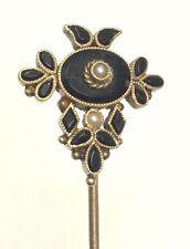 Stunning Antique Victorian Mourning 10K Stick Pin