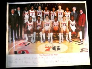 "Vintage 1976 Philadelphia 76ers Autographed ""Team of the Year"" Photo"