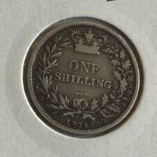 Antique Victoria Victorian Silver 1874 One Shilling Coin