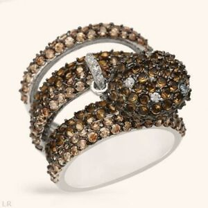 925 STERLING SILVER SIMULATED CHAMPAGNE DIAMONDS CHARM RING