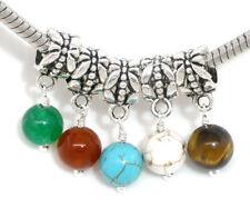 10 European Mix Stein Dangle Perlen Beads 24x6mm  FL