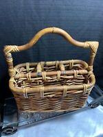 1960 Vintage Basket Wicker Rattan Divided Picnic Tote Bottle Holder With Handle