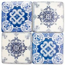 Oltu Blue Patterned Drink Table Coasters Set - Resin Stone Ceramic Cork Base