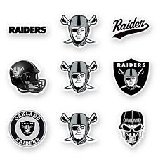 Las Vegas Raiders Die Cut Vinyl Decal Set of 9 by 2 in Football Helmet Car Desk