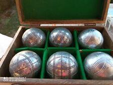 Anciennes boîte  à pétanque   avec 4 boules  gravées MATCH    VINTAGE