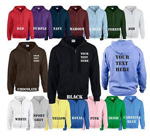 Printed Hoodie Zip Hoody Hoodies Personalised Custom Made To Order Unisex
