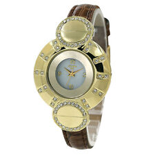 Gold Crystal Case White Dial Brown Leather Band Women Lady Bracelet Watch W1258
