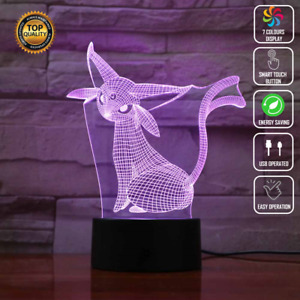 POKEMON EPSEON IKACHU NINTENDO 3D Acrylic LED 7 Colour Night Light Touch Lamp