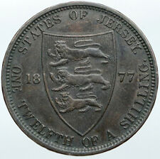 1877 H JERSEY under UK Queen Victoria & Shield ANTIQUE 1/12 Shilling Coin i88510
