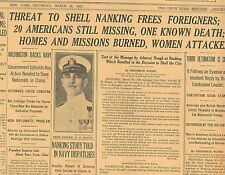 Nanking Women Attacked Warships threat to Shell City Frees Foreigners B11