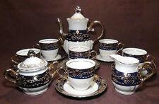 THUN, KARLOVARSK Cobalt Blue Gold Trim Fine Porcelain China Coffee Set Tea Set