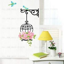 Flowers Bird Cage Wall Art Decal Stickers Home Decor Mural Wallpaper Premium PVC