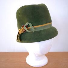 "Vintage 60s Fur Felt Velour Olive Green Grosgrain Ribbon Wedding Cloche Hat 22"""