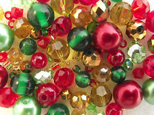 Glass Bead Mix / Bracelet Making Kit - Red, Gold & Green - Holly Berry