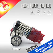2X 3157/3156 50W Red Projector High Power Chip LED Brake Tail Stop Lights Bulbs