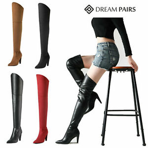 DREAM PAIRS Womens Ladie Thigh High Pointed Toe Sexy Party Over The Knee Boots
