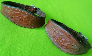 NICE Vintage TOOLED Leather Matched Pair Western Saddle STIRRUP HOBBLES~CLEAN~NR