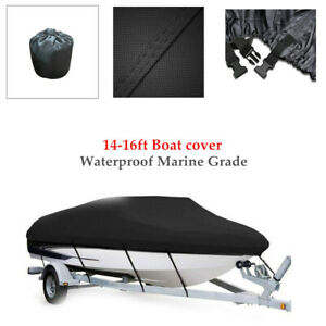 14-16ft Boat Cover Trailerable 420D Oxford Waterproof Marine W/Fixed Straps 1PC