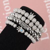 Luxury Charm Silver Micro Pave CZ Ball Crown Men Women Copper Bead Bracelets