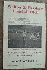 Walton & Hersham V ILFORD programme 11/01/69