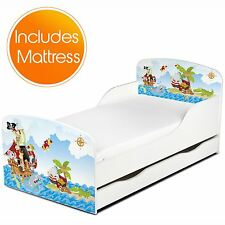 PIRATES MDF TODDLER BED + DELUXE MATTRESS WITH UNDERBED STORAGE NEW