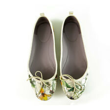 GUCCI White Mini Infinity Flora Leather Ballet Bow Ballerinas Flats Shoes 38