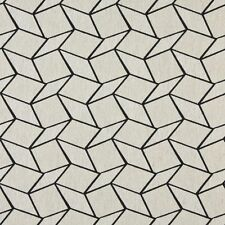 A0007G Midnight Off White Geometric Boxes Upholstery Fabric By The Yard