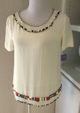 Tory Burch Top, Size 4, NWT, Org. 550.00, Silk, Beaded, Ivory, Multicolored Bead