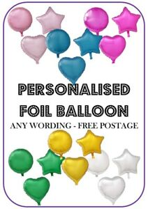"""Personalised Foil Balloon 18"""" Message Name Birthday Party Decorations"""