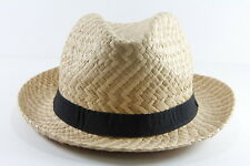 PEACH/BROWN PANAMA STYLE HAT WITH BLACK BAND UNIQUE RETRO BRAND NEW (HT18)