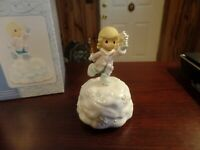 Precious Moments Girl W/ Snowflake Music Box-Plays It Came Upon A Midnight #4704