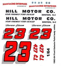 #23 Buren Skeen Hill Motor Co. 1963 -1964 Ford Galaxie 1/64th Ho Slot Car Decal