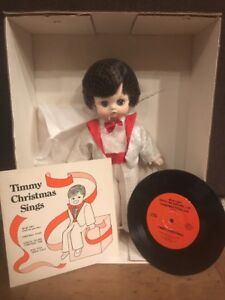 """1984 Timmy Christmas Sings Royal House of Dolls- 13"""" Timmy plus vinyl record."""