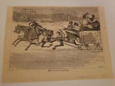 """Harper's Weekly 1876, (10""""×7 1/2"""") Bound to have a Sleigh Ride"""