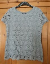 Ladies Pale Grey Lace Phase Eight Short Sleeved Top Size 12