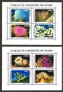 Romania 2001/02 Fauna Wildlife Marinelife Fisch Fish Corals 2 compl. MS MNH