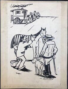 Drawing Original Per Maurice Never Caricature Horse Ink B2.76