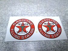 "1-1/8"" PAIR TEXACO GASOLINE SERVICE STATION GAS OIL WATER SLIDE DECALS TOY PARTS"