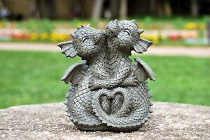 Gartenfigur Gartendrache - Modell kuschelnd klein - Fantasy Figur Deko Drache ..