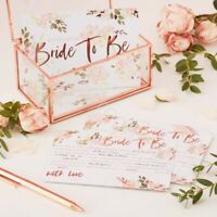 10 Team Bride to Be Advice Cards Rose Gold Advice To Bride Floral Hen Party Game