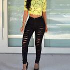 Mujer Skinny Pitillo Rotos Pantalones Cintura Alta Elástico Vaquero Largo Lápiz