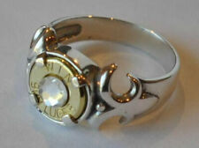 Winchester 9mm Bullet Ring Sterling Silver 925 Fleur-de-Lis Swarovski Crystal