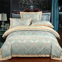 Cotton Sateen Jacquard Queen King size Bedding Duvet Cover Set Bed Set Jacquard