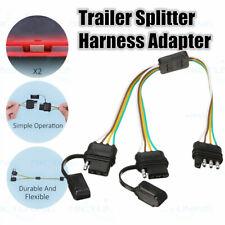 1x Flat 4-Way 4 Pin Y-Splitter Harness Adapter Waterproof For Trailer LED lights
