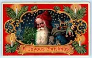 A JOYOUS CHRISTMAS ~ Embossed Blue Robed SANTA 1912 Heymann  Postcard