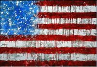 MODERN ABSTRACT WALL ART OIL PAINTING ON CANVAS American Flag 24x32 unframed