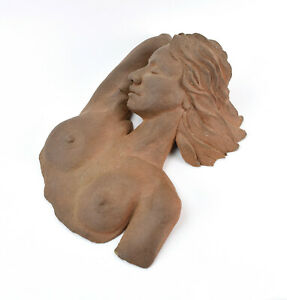 Vintage Art Pottery Terra Cotta Sculpture Nude Woman Peaceful Pose Lidov Chicago