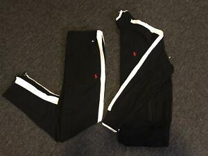 Polo Ralph Lauren Black with White Stripe Soft Cotton Track Suit Jacket Pants M