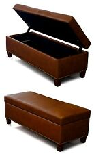 Genuine Leather Storage Bench, Coffee Table, Oversized Ottoman with Nail Heads