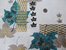 Vintage Mid-Century Barkcloth Fabric, Teal Leaves, Gold Geometric, Nos 129 x 48